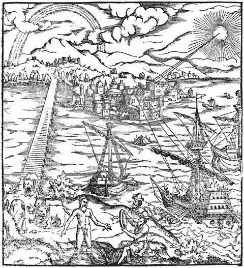 Une représentation d'Archimède mettant le feu aux navires romains devant Syracuse à l'aide de miroirs paraboliques. (Wikimedia Commons)